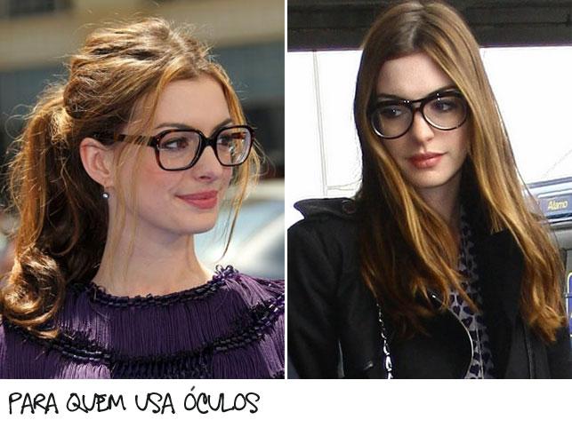 (Adoro os óculos da Anne Hathaway! Não resisti e coloquei ela aqui duas  vezes). Fiz algumas opções de maquiagem mais seguindo o que eu gosto de  usar mesmo ... 0f07227f293ea