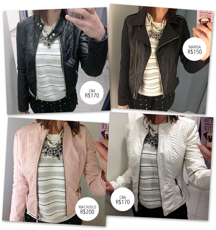 """... vários modelos de jaqueta de """"couro"""". Tem modelos de todos os tipos e  de várias cores a352e95bc8d"""