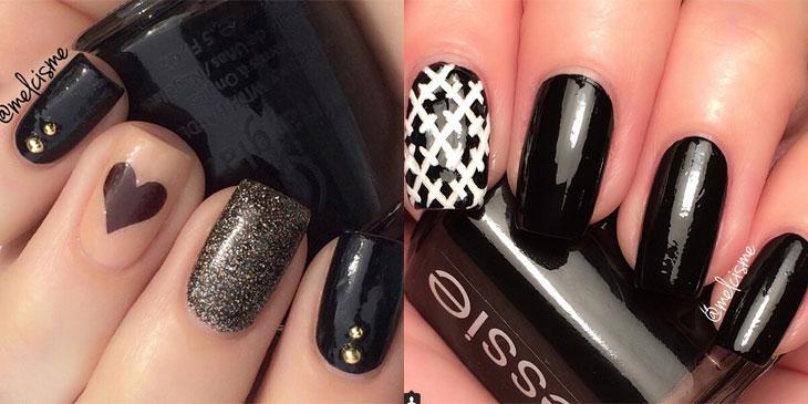 Unhas decoradas em preto