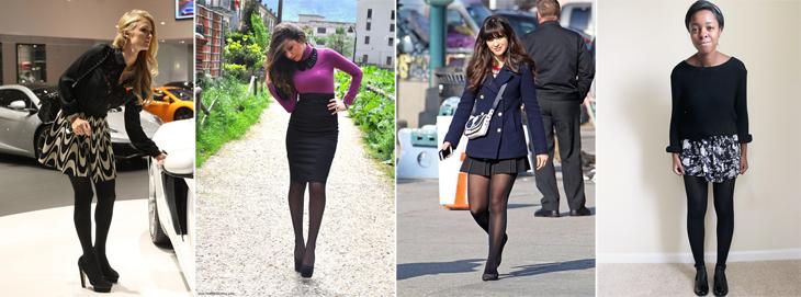 meia calça preta com saia