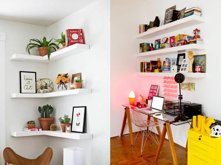 prateleiras para decorar o escritório