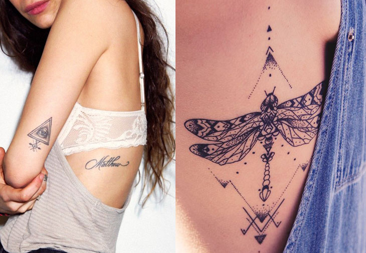 Tatuagens femininas na costela delicadas