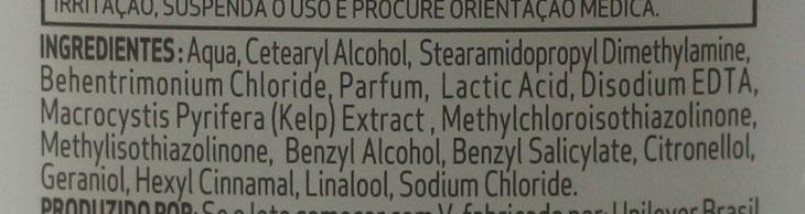 Ingredientes da fórmula do condicionador TRESemmé Perfeitamente (Des)Arrumado