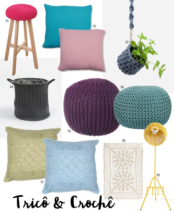 tricô e crochê na decoração