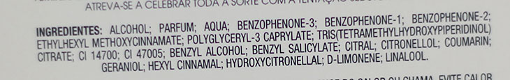 Ingredientes da fórmula Deo Parfum Luck Avon