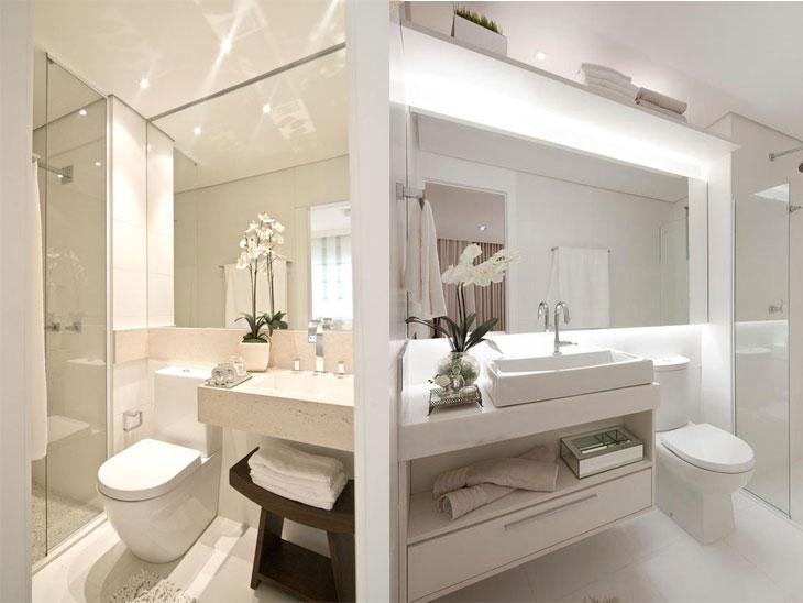 Banheiro pequeno 40 soluções lindas para aproveitar o espaço -> Banheiro Pequeno Iluminacao