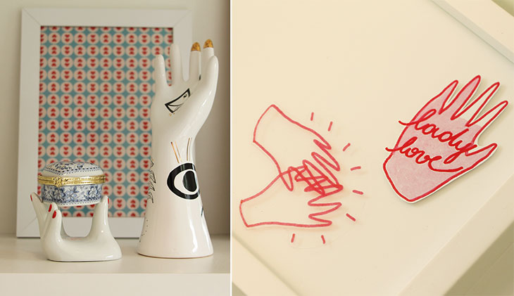 mãos na decoração