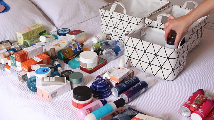 como organizar produtos de beleza